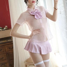 Load image into Gallery viewer, Pink/Black/Blue Transparent Sexy School Uniform SP14552
