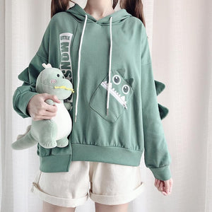Green Kawaii Monster Fleece Hoodie Jumper SP14389