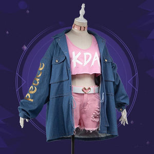 League of Legends Akali Cosplay Denim Coat Set SP13456