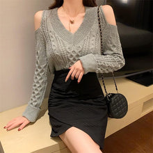 Load image into Gallery viewer, White/Grey/Black Off-shoulder V-neck Sweater SP14517