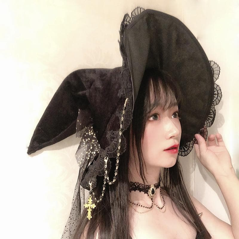 Black Lace Bow Halloween Cosplay Witch Hat SP15265