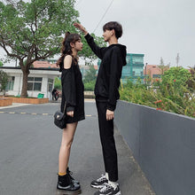 Load image into Gallery viewer, Black Loose Moon Couple Hoodie Jumper SP15048