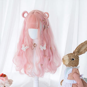 Lolita Cherry Pink Long Curly Wig SP15475