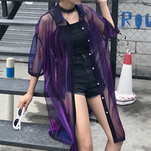 Load image into Gallery viewer, Harajuku Transparent Gradient Blouse Jacket SP179859