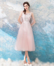 Load image into Gallery viewer, Pink Round Neck Lace Tulle Short Prom Dress, Evening Dress - DelaFur Wholesale