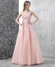 Load image into Gallery viewer, Pink A Line Tulle Lace Long Prom Dress, Pink Evening Dress - DelaFur Wholesale