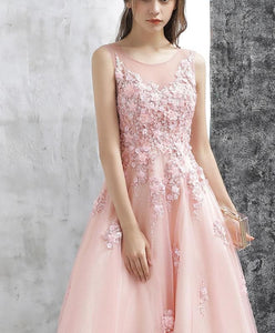 Pink A Line Tulle Lace Long Prom Dress, Pink Evening Dress - DelaFur Wholesale