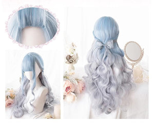 Pastel Blue Grey Lolita Long Curl Wig SP13929