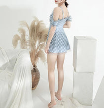 Load image into Gallery viewer, Pastel Blue Grid Falbala Swimsuit SP13581