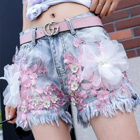 Pastel Flowers Embroidery Tassel Denim Shorts SP13559