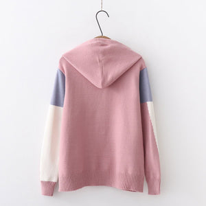Pastel Mixed Color Hoodie Knitting Sweater S12866