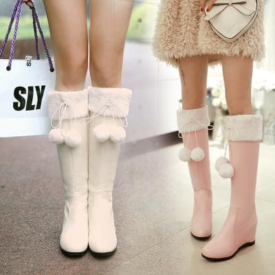 Pink/Beige Sweet Bow Fluffy High Boots SP1710723