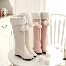 Load image into Gallery viewer, Pink/Beige Sweet Bow Fluffy High Boots SP1710723