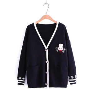 Pink/Navy/Beige Kawaii Bunny Knitting Coat SP14330