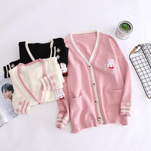 Load image into Gallery viewer, Pink/Navy/Beige Kawaii Bunny Knitting Coat SP14330