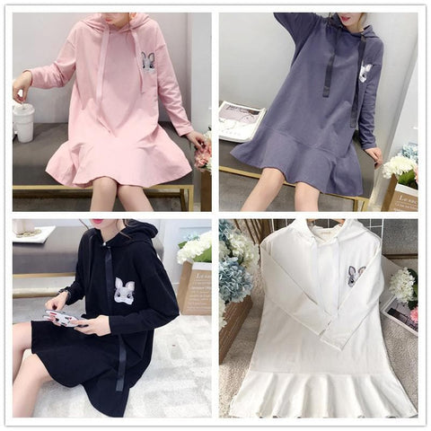 Pink/Black/Grey/White Kawaii Bunny Falbala Hoodie Dress SP1710863