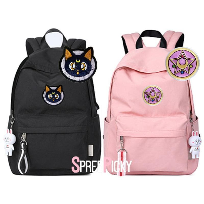 Pink/Black Exclusive Luna Embroidery School Backpack S13139