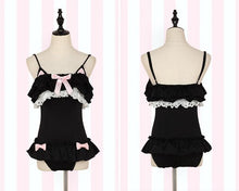 Load image into Gallery viewer, Pink/Black Kawaii Ruffled Kitty One-Piece Swimsuit SP179466