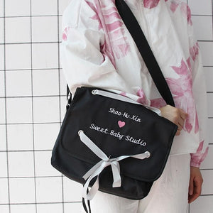 Pink/Black Sweet Baby Heart Cross Body Bag SP13416