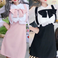 Pink/Black Sweet Bow Falbala Dress S12966