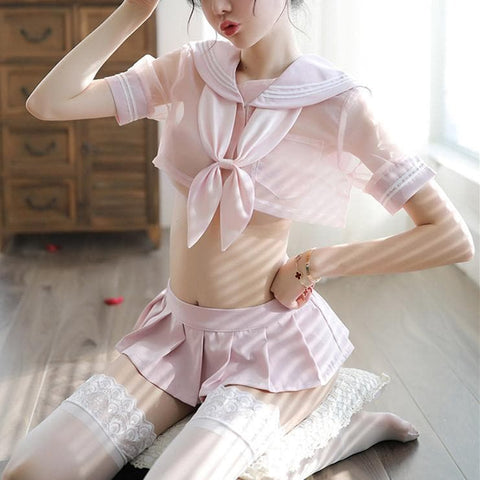 Pink/Black Transparent Sailor Uniform Set SP13751
