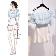 Load image into Gallery viewer, Pink/Blue/White Fairy Falbala Off-Shoulder Shirt/Skirt Set SP14090