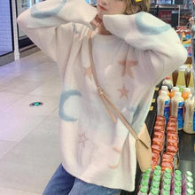 Load image into Gallery viewer, Pink/Blue/White Kawaii Star Moon Sweater SP14307