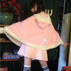 Pink/Blue Kawaii Bear Ear Lolita Cape Coat S13144