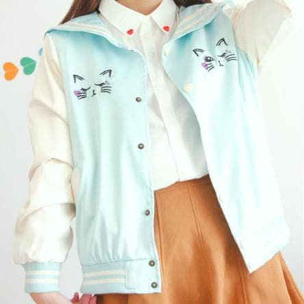 Pink/Blue Kawaii Cat Jacket Coat SP153090