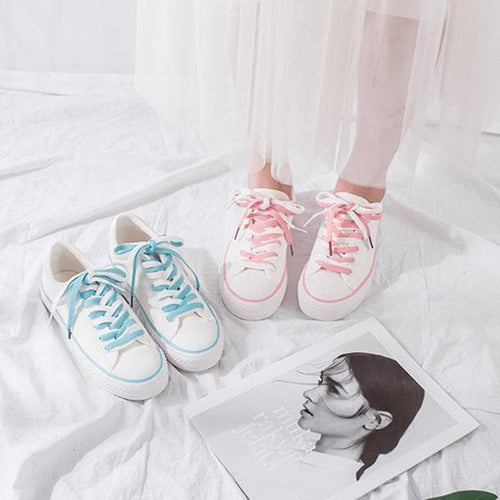 Pink/Blue Pastel Laced Canvas Shoes S13049