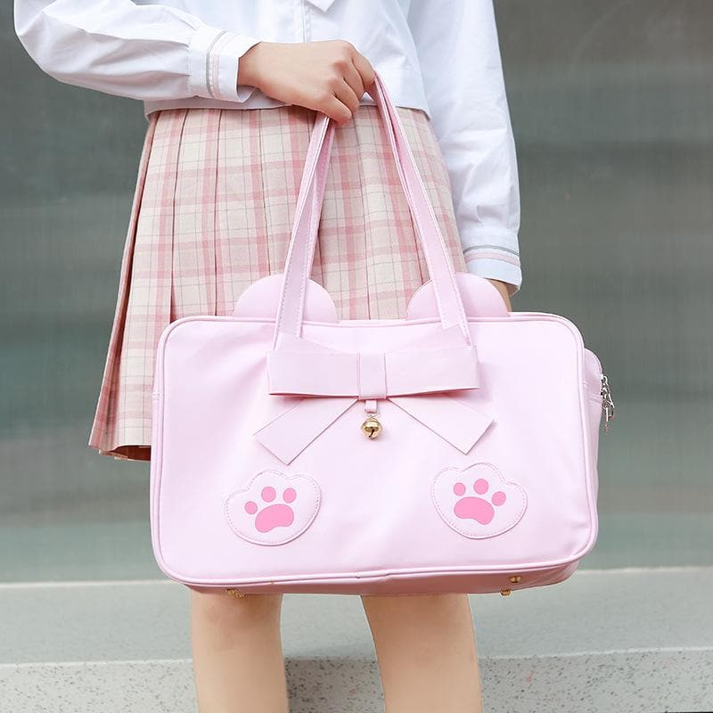Pink/Brown Kawaii Cat Paws Bow Handbag SP14024