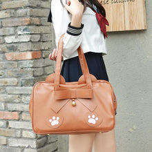 Load image into Gallery viewer, Pink/Brown Kawaii Cat Paws Bow Handbag SP14024