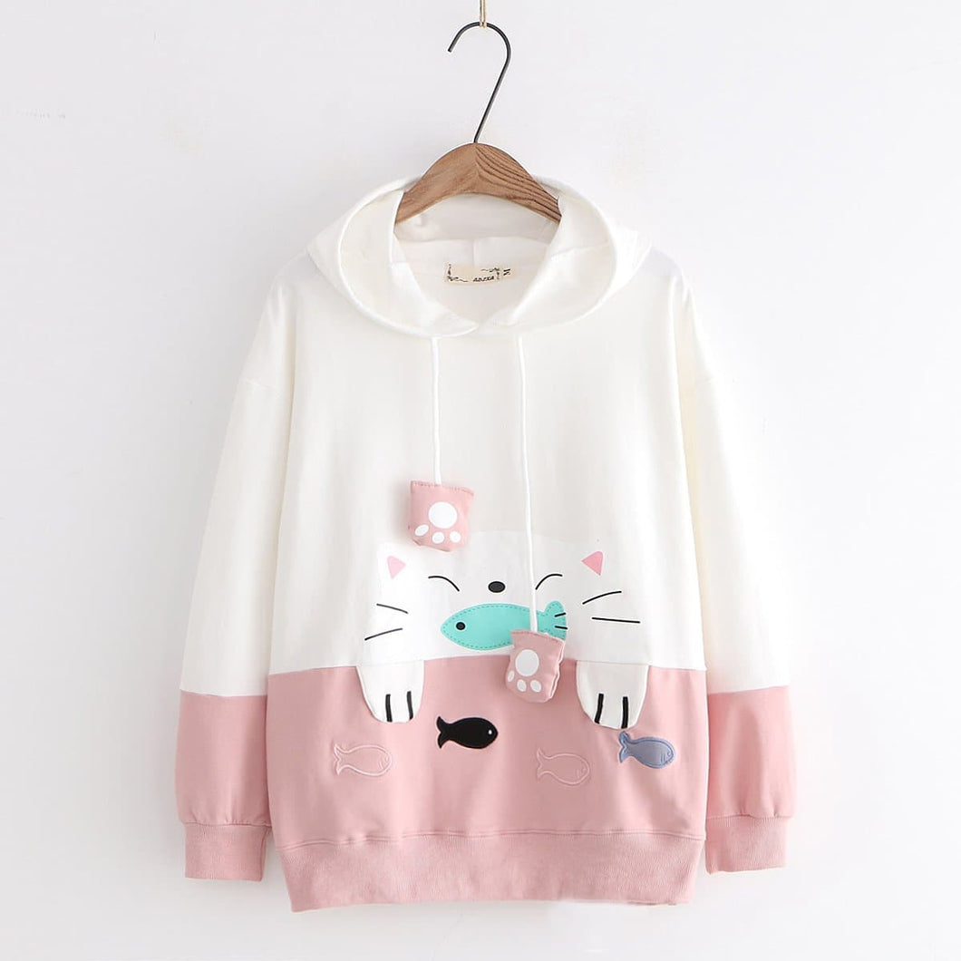 Pink/Grey/Black Kawaii Cat Fish Hoodie Jumper SP14400