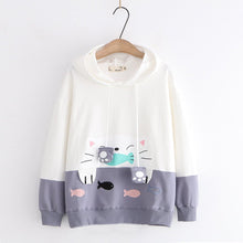 Load image into Gallery viewer, Pink/Grey/Black Kawaii Cat Fish Hoodie Jumper SP14400