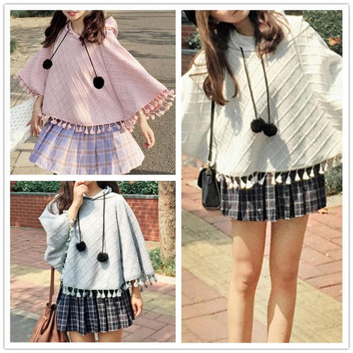 Pink/Grey/White Kawaii Tassels Hoodie Phoncho Cape SP1710694