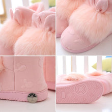Load image into Gallery viewer, Pink/Grey Cute Fluffy Bunny Slippers Shoes SP1711277