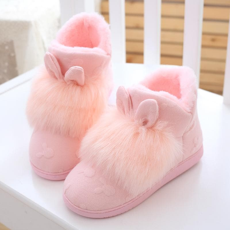 Pink/Grey Cute Fluffy Bunny Slippers