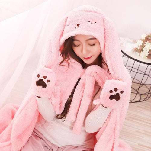 Pink/Grey Kawaii Ears Coral Velvet Hoodie Cape SP14179