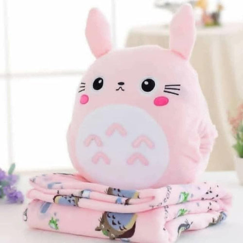 Pink/Grey Kawaii Totoro Three-Way Plush Cushion SP13476