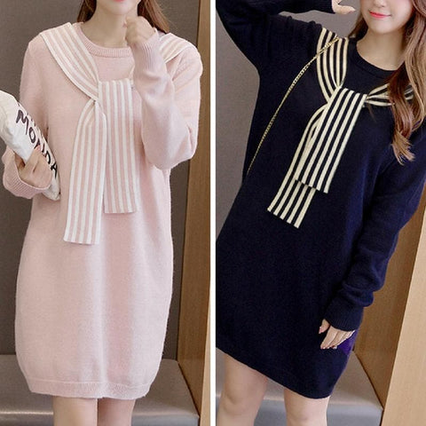 Pink/Navy Pastel Laced Bow Sweatshirt Dress SP1711243