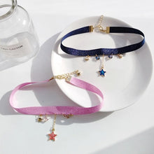 Load image into Gallery viewer, Pink/Navy Sweet Star Moon Earth Choker SP13485