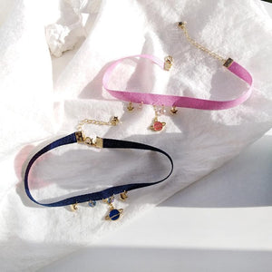 Pink/Navy Sweet Star Moon Earth Choker SP13485