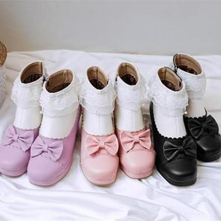 Pink/Purple/Black Sweet Bow Heels Shoes S12960