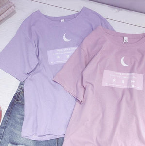 df14c63e21 Pink Purple Moon Broadcasting Station Tee Shirt SP13715