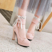 Load image into Gallery viewer, Pink/White/Black Sweet Lace Flower Lolita High Heel Shoes SP14072