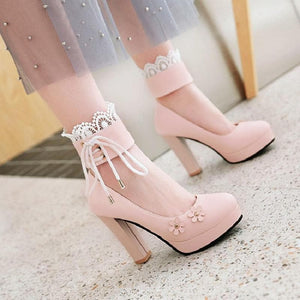 Pink/White/Black Sweet Lace Flower Lolita High Heel Shoes SP14072