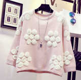 Pink/Yellow/Green Sweet Flower Pullover Jumper SP1710831