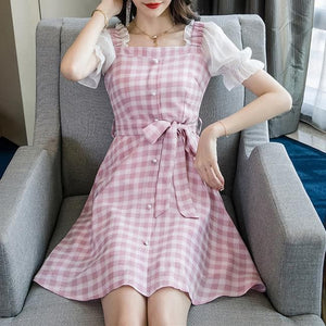 Pink/Yellow Fairy Falbala Grid Dress SP13910