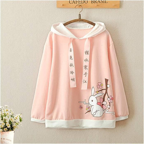 Pink Cute Rabbit Hoodie Jumper SP1811649