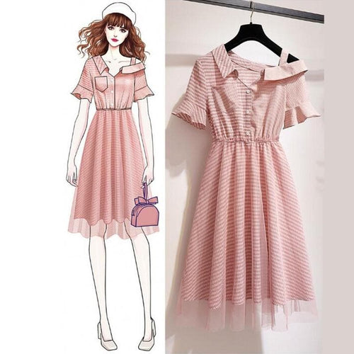 Pink Fairy Falbala Off-Shoulder Dress SP14078